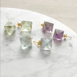 Raw Fluorite Crystal Stud Earrings